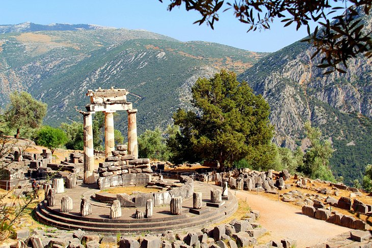 greece delphi tholos and hillside